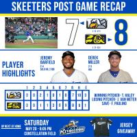 Skeeters Bounce Back for An 8-7 Victory over York in First Game of Double Header