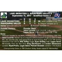 9/11 NYPL Semifinal Game 2: Vermont 3, Mahoning Valley 0 (Vermont Wins Series 2-0)
