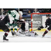 Vancouver Giants stop an Everett Silvertips' Scoring Attempt
