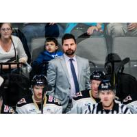 Riley Armstrong behind the Wheeling Nailers Bench