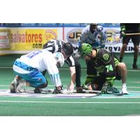 Rochester Knighthawks' Jake Withers vs. Saskatchewan Rush's Jeremy Thompson