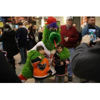 The Phillie Phanatic with Lehigh Valley Phantoms fans