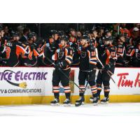 Lehigh Valley Phantoms celebrate with the bench