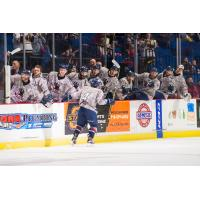 Forward Bobby Watson is congratulated by Tulsa Oilers teammates