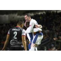 Tacoma Stars celebrate a goal vs. the Ontario Fury