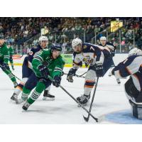 Florida Everblades Forward Mitchell Heard confounds the Greenville Swamp Rabbits