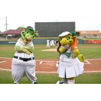 Dayton Dragons Mascots Heater and Gem