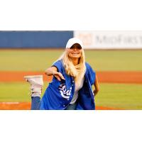 Kristen Chenowith throws out the first pitch for the Tulsa Drillers