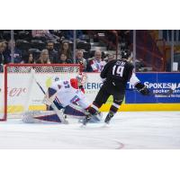 Dawson Holt of the Vancouver Giants scores against the Spokane Chiefs