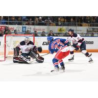 Adam Mascherin of the Kitchener Rangers scores against the Saginaw Spirit
