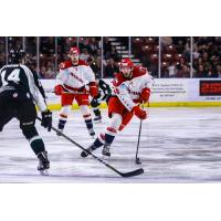 Allen Americans Forward Zach Pochiro controls the puck vs. the Utah Grizzlies