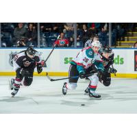 Kelowna Rockets defenseman Cal Foote vs. the Vancouver Giants