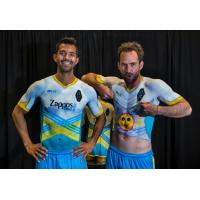 Las Vegas Lights FC Defender Miguel Angel Garduno (left) and Forward Juan Carlos Garci with body paint uniforms