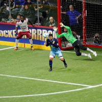 San Diego Sockers Goalkeeper Chris Toth dives for an oncoming shot