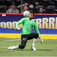 San Diego Sockers Goalkeeper Chris Toth eyes the field handles the ball