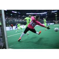 Milwaukee Wave Goalkeeper Josh Lemos deflects a shot on goal