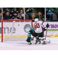 Nathan Gerbe of the Cleveland Monsters scores against the Texas Stars