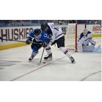 Forward Tyler Poulsen with the University of Alabama-Huntsville