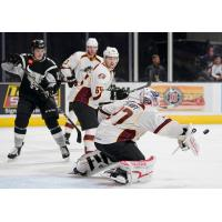 Cleveland Monsters Goaltender Jeff Zatkoff deflects a San Antonio Rampage shot