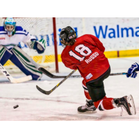 Rebecca Russo of the Metropolitan Riveters releases a shot on goal
