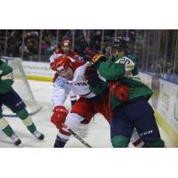 Eric Roy of the Allen Americans fights for position
