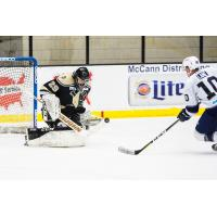 Wheeling Nailers Goaltender Adam Morrison stops the Worcester Railers' Matt Lane