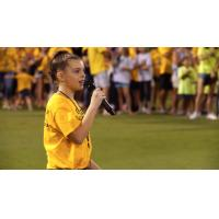 Marissa Peddie sings the national anthem at a Tampa Bay Rowdies game