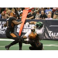 Arizona Rattlers' Dillion Winfrey makes a tackle vs. the Nebraska Danger