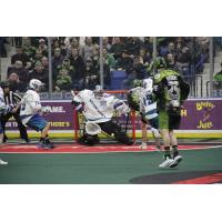 Rochester Knighthawks Goalkeeper Matt Vinc stops the Saskatchewan Rush