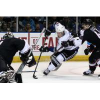 Vancouver Giants defenders contest the Victoria Royals