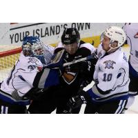 Victoria Royals Goaltender Griffen Outhouse battles the Vancouver Giants