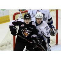 Vancouver Giants set up in front of the Victoria Royals' net