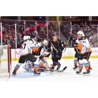 Cleveland Monsters Left Wing Kale Kessy in front of the San Diego Gulls' net