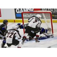Vancouver Giants Forward Ty Ronning at the Victoria Royals' net