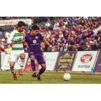 Oscar Jimenez of Louisville City FC fights for possession vs. the Tampa Bay Rowdies