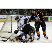 Idaho Steelheads Forward Jefferson Dahl crashes the net vs. the Colorado Eagles