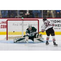 Kieffer Bellows of the Portland Winterhawks scores against the Everett Silvertips