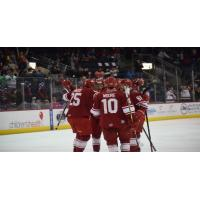 Allen Americans huddle up after a David Makowski goal