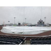 Snow covers Whitaker Bank Ballpark, home of the Lexington Legends