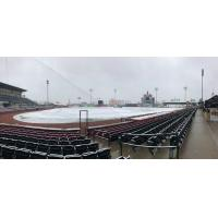 A snowy Whitaker Bank Ballpark, home of the Lexington Legends