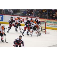 Lehigh Valley Phantoms set up in front of the Hartford Wolf Pack net
