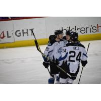 The Idaho Steelheads celebrate Cole Ully's goal
