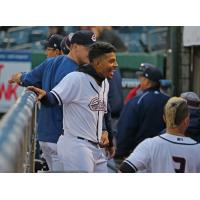 Adrian Sanchez celebrates his walk-off single with Syracuse Chiefs teammates