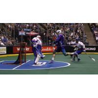 Paul Dawson of the Rochester Knighthawks moves in on the Toronto Rock goal