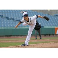Syracuse Chiefs pitcher Austin Voth delivers a pitch during the team's no-hitter