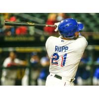 Round Rock Express catcher Cameron Rupp swings for the fences