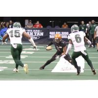 Jamal Miles of the Arizona Rattlers makes a move vs. the Green Bay Blizzard