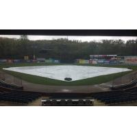 The tarp on McCormick Field, home of the Asheville Tourists