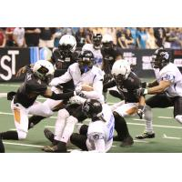 Arizona Rattlers close in on a Cedar Rapids Titans ballcarrier