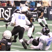 Nathan Lindsey of the Arizona Rattlers prepares to make a tackle against the Cedar Rapids Titans